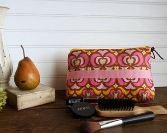 Large Gusset Make Up Bag - Pink Amy Butler Cosmetic Bag with Pink Ribbon Trim,  Large Zipper Bag, Holds alot of make up