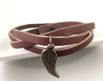 Angel wing Bracelet, wing charm with leather bracelet, Triple braided leather bracelet, Brown leather lCharm Bracelet, Gift for her