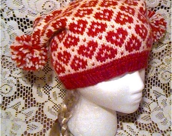 Fair Isle Red and White Hearts Square Beanie