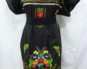mexican dress mexican peasant dress mexican dress embroidered oaxaca black 100% cotton handmade A