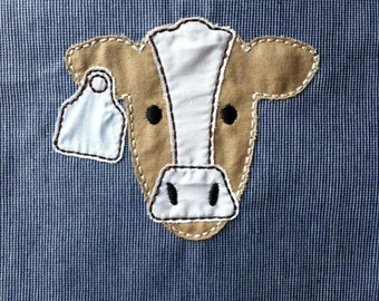 ITH Cow Raggy Applique DIGITAL Embroidery Design