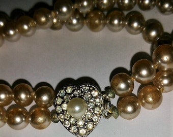 Vintage Double Row Pearl Bracelet with a gorgeous Pearl and Rhinestone Heart Clasp