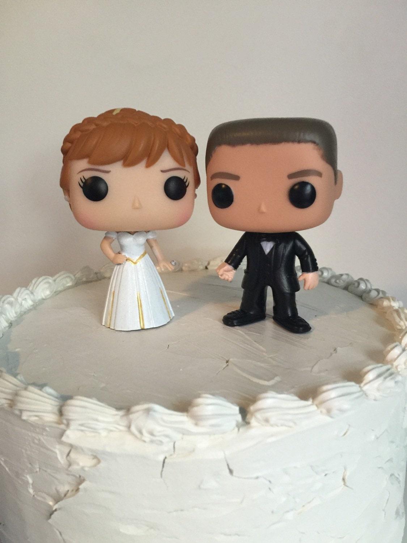 Custom Funko Pop Anna And Groom Wedding Cake Topper Set