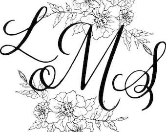 Custom Calligraphy Digital Monogram-Wedding Monogram
