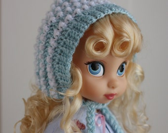 Blue and white crocheted pixie hat for Disney Animator dolls