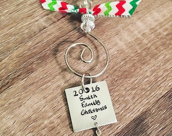 Family Christmas tree ornament / 2016 family name ornament / Hand stamped sqaure tree ornament / Personalized family Christmas / Custom