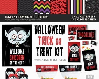 Halloween Party Printable Kit, Halloween Trick or treat, Printable Party Pack, Editable, Instant download, Halloween, Vampire, ZWDHN00621