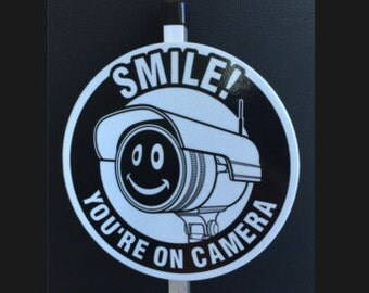 Reflective Security Camera Sign with Stake , Smile You're on Camera