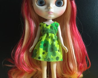 Neo Blythe Dress B31 (Green Floral cotton Mini dress)