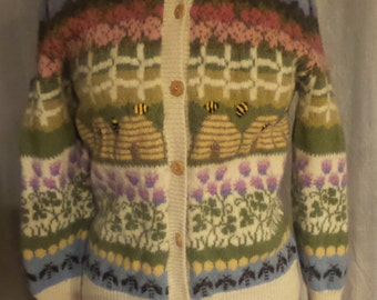 Vintage 1992 Hand Embroided, 100% Wool, Womens Bee Inspired Cardigan. Womens Cardigan XS/S, Retro, Hipster Cardigan