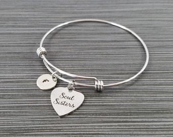 Soul Sister Bracelet - Soul Sister Charm - Expandable Charm Bracelet - Initial Bracelet - Sister Gift - Best Friend Bracelet - BFF Gift