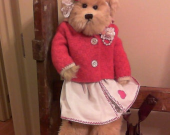 Teddy Bear in Vintage Doll Clothes