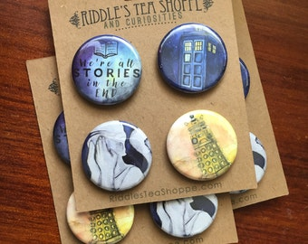 "We're All Stories Doctor Who 1.25"" Pinback Buttons"