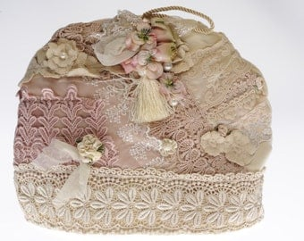 lace tea cosy. velvet  and lace tea cosy. afternoon tea tea cosy.