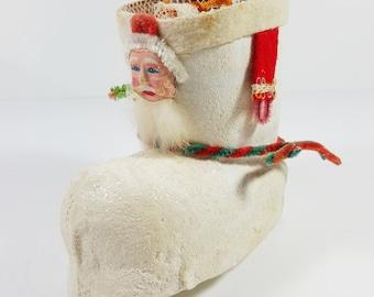 Unique and Rare Vintage Paper Mache Santa Boot Christmas Decoration