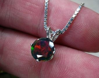 Black Opal Necklace, Black Gemstone Jewelry, October Birthstone, Fine Jewelry, Opal Jewelry, Opal Pendant, Sterling Opal, Fire Opal, Round