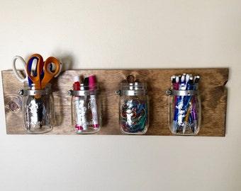 Mason Jar Wall Decor, Mason Jar Organizer, Rustic Mason Jar Decor, Holiday Decor, Makeup Organizer, Desk Organization, Bathroom Organizer