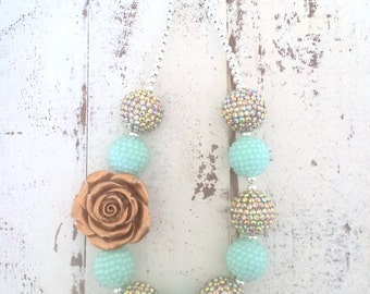 Gold and Mint Green Spring Birthday Flower Girl Chunky Bubblegum Beaded Toddler Girls Necklace
