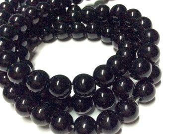 8mm Black Obsidian Gemstone Beads - 14inch Full strand - Round Gemstone Beads - Black Gemstone Beads