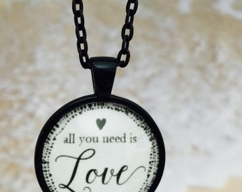 All you need is love : Glass Dome Necklace, Pendant or Keychain Key Ring. Gift Present metal round art photo jewelry by Bohemian Marvels
