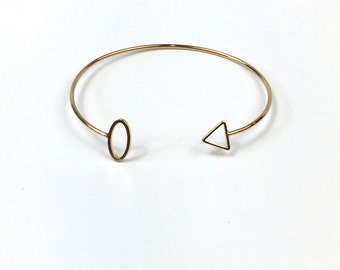 Geometric Cuff Gold Bangle Triangle Stacking Bracelet Adjustable Gifts for her