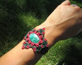Chrysocolla-Macrame Bracelet
