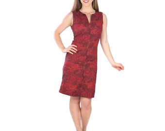 60s Inspired Wine Red and Black Floral Print Cotton Dress