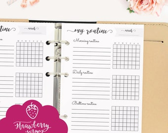 """Routine chart: """"ROUTINE CHECKLIST"""" Printable planner inserts personal, Daily routine, Morning routine, Bedtime routine, Weekly chart, Day"""