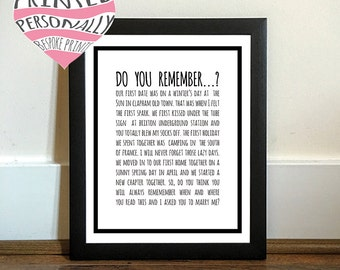 Personalised love story - Marriage proposal personalised print - Engagement - Valentine's gift - Black and white - Personalized