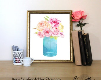 Wall Prints Still Life Print Office Wall Decor Instant Download Printable Art Watercolor painting flowers Floral print Art Floral Bouquet