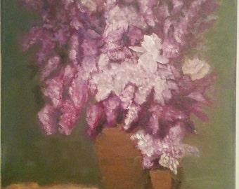 Lilacs in Brown Vase