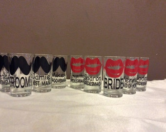 Bachelorette Shot Glasses, Bachelor Shot Glass, Personalized, Wedding Shot Glass, Bridal Party Gift, Bridesmaid,  Wedding Favor
