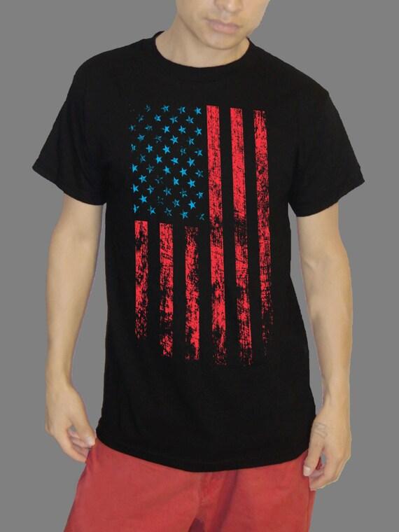 Usa flag shirt distressed american flag shirt 100 soft for Custom t shirts distressed