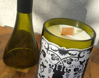 Upcycled/Recycled Wine Bottle Soy Candle with Wood Wick. Choose your own scent.
