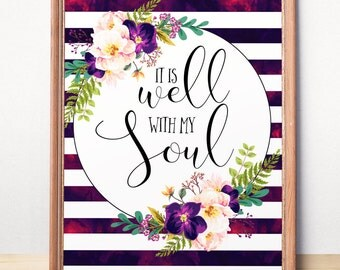 Printable art Bible verse art print It is well with my soul Striped Wall decor Inspirational Scripture Teen room decor Christian for women