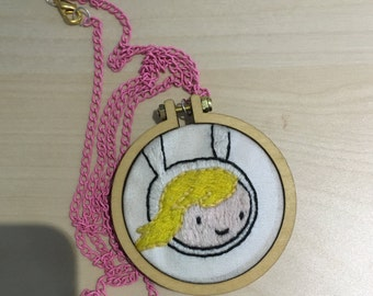 Adventure Time embroidery necklace (Fionna)