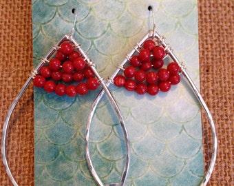 Sterling Silver Hoop Earrings (Coral colored beads)
