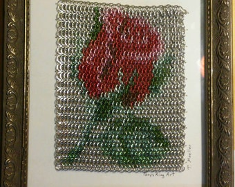 Framed Rose Art in Chainmaille