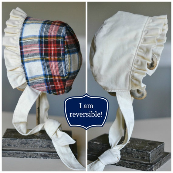 Winter White and Tartan Plaid Reversible Bonnet  by TheTipsyBunny