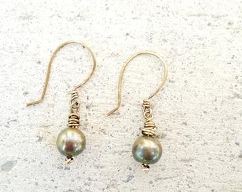 Green Pearl Earrings, Freshwater Pearl Earrings, Olive Dangle Earrings, Green Pearl Drop Earrings, Wire Wrap Drop Earrings, Boho-Chic