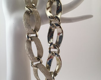 Vintage chain necklace, chunky chain link, silver tone with white enamel. Dramatic, choker style chain,