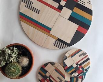 BAUHAUS geometric wood trivet/centerpiece/ large coaster/ mid century modern coasters/ wood coasters /plant plate
