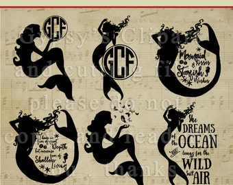 Mermaid SVG, Mermaid Studio 3, Ocean,  Beach,Silhouettes Templates, Cut File, Clipart, Vector, Cutting file, Overlay, png, svg,ai,eps, dxf