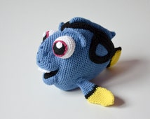 Crochet PATTERN - blue fish pattern by Krawka, Dory, fish,  sea creature, cute,