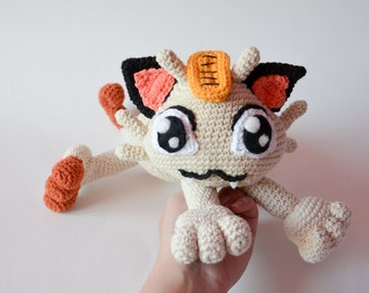 Crochet PATTERN - Meowth cat pattern by Krawka