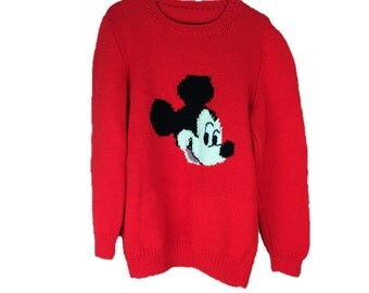 Vintage Mickey Mouse Sweater | Red Mouse Sweater | Handmade Mickey Mouse Sweater | Pullover Red Sweater | Vintage Knit Sweater | L XL