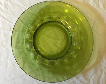 Indiana Glass Green King's Crown Thumbprint Salad Plate