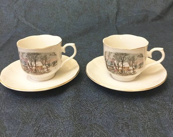Vintage Currier and Ives Avon Coffee Cup and Saucer, The Old Gristmill, Set of 2