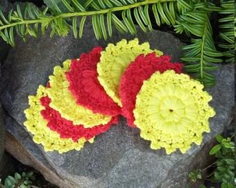 100% Cotton Face Scrubbies, Reusable and Eco Friendly Face Cloths, Crochet Cotton Makeup Remover Pads.