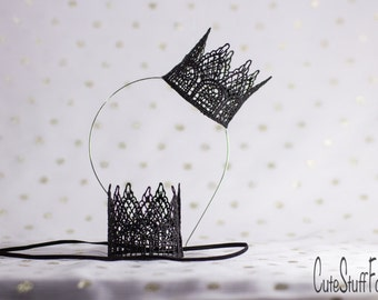 Black lace crown headband or elastic perfect for Disneyland, princess dress up, birthday, cake topper, or photography prop
